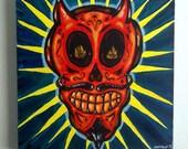 El Diablo - Acrylic Painting on Canvas - Original - 10 x 10 - Red - Mexican - Folk - Sugar Skull -Devil