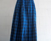 Electric Blue Plaid Flannel Midi with Button Detail.