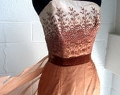 Vintage Prom Gown Embroidered Chiffon with bustle train 1960s size small