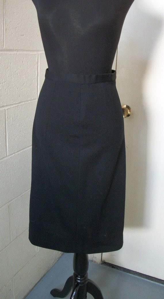Wool Jersey Black Pencil  Skirt.