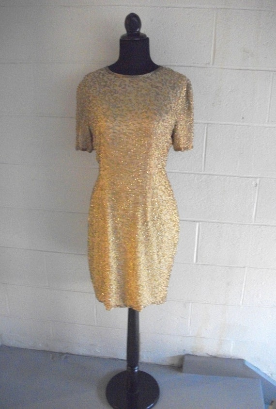 Vintage Dress Gold mustard  Beaded Silk Chiffon Formal Party Cocktail Gown  size 8