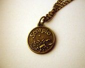 Scorpio Zodiac Sign Antique Bronze tone necklace