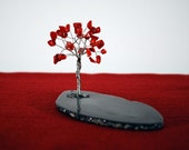 Energy Red Coral Gemstones Wire Tree Sculpture