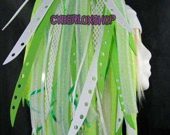 Cyberlox Dread Goth Green White GreenBleach Hair Falls