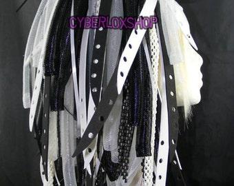 Cyberlox Dread Goth Black White BlackBleach Hair Falls