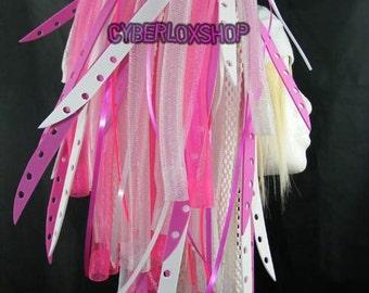 Cyberlox Dread Goth Pink White FuchsiaBleach Hair Falls