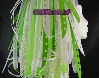 Cyberlox Dread Goth Neon Green White Neon GreenBleach Hair Falls