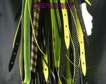 Cyberlox Dread Goth Neon Yellow Black Neon YellowWeb Hair Falls