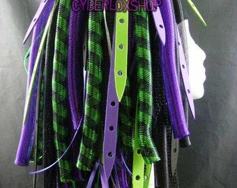 Cyberlox Dread Goth Purple Green DuoWeb Hair Falls