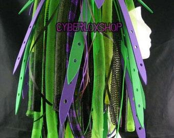 Cyberlox Dread Goth Purple Neon Green MutantWeb Hair Falls