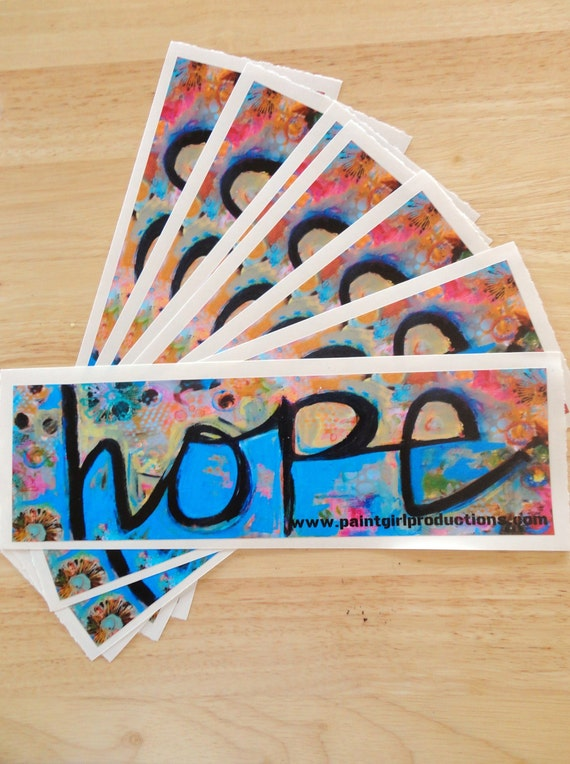 "Charity Project Hope bumper sticker 3X10"" reproduction of original mixed media painting"