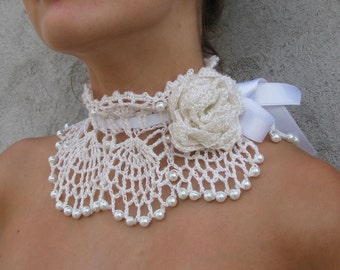 Crocheted white pearl choker/necklace