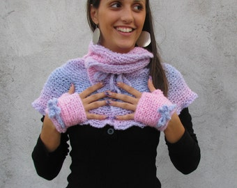 Women Accessories Matching neckwarmer and fingerless gloves,mixed  pink,purple and blue Boucle Yarn