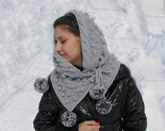 Hand Knit Hood Scarf with cables