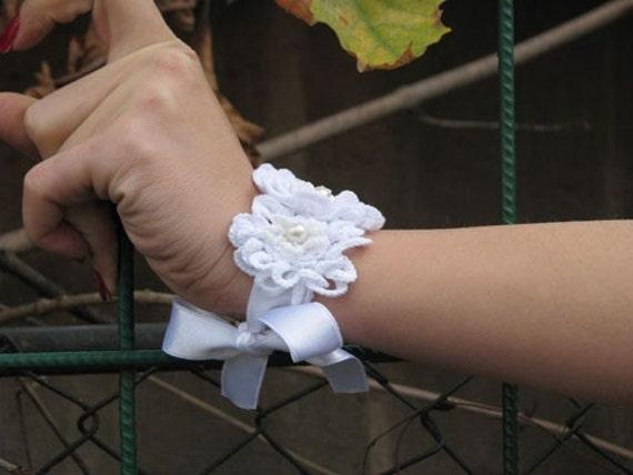 Jewelry / Bracelets Handflower bracelets cuff handmade crochet  Jewelry / Bracelets cuff Handmade Wedding Bridal Corsage Wrist