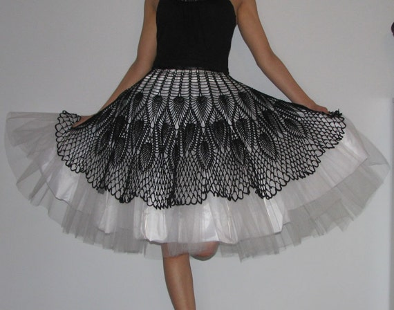 Unique Tutu crochet  Skirt  Black and white