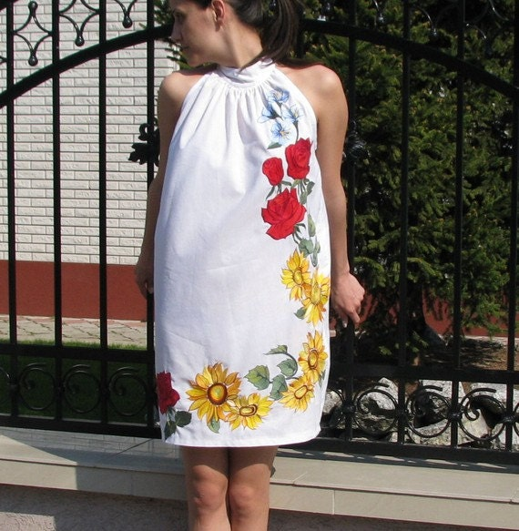Feel the summer breeze while walking in a dream- a field of flowers that just blossomed ... hand embroidered dress