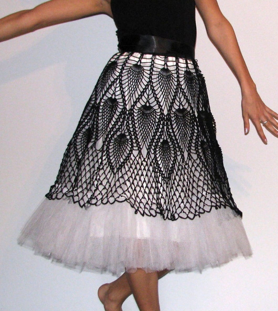Free Crochet Wrap Skirt Pattern : Unique Tutu crochet Skirt Black and white