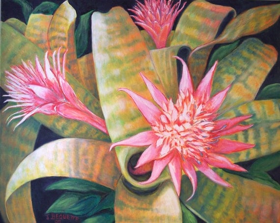 "Original Oil 24""x30"" Pink Bromeliad Vertigo, Gift Idea, Tropical Floral, Flower Garden Painting on Canvas"