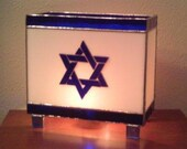Stained Glass Lamp, Israel Flag, Star of David, Made-to-Order