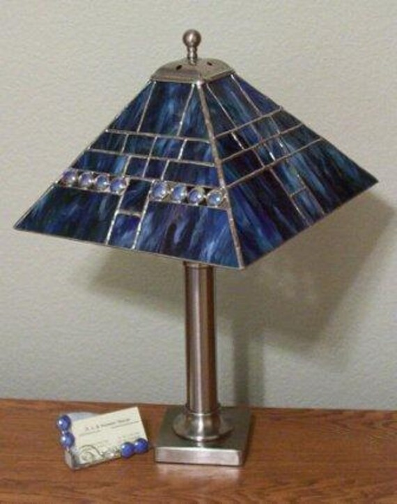 Stained Glass Lamp Shades For Table Lamps : Items similar to stained glass table lamp shade blue
