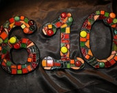 Custom Made Stained Glass Mosaic House Numbers - Your Color Choice  (These are shades of reds, greens & oranges)