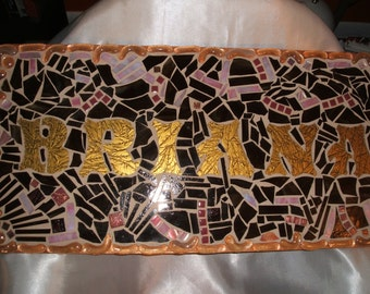 "CUSTOM MOSAIC Stained Glass Name Signs - You Get to ""Design the Sign"" - This One Is 12""x24"" / Very Unique / 1.00 per sq inch / OOAK"