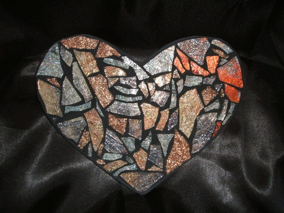 RESERVED LISTING for Ashley - Mosaic Heart with Silver, Copper, Gold Metallics AND Custom Heart in Shades of Purples & Metallics