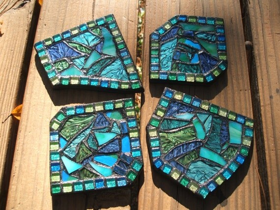 RESERVED LISTING for Randi only -  Mosaic Coasters in Shades of Blue, Green & Teal Stained Glass - Set of 4