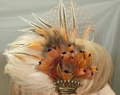 Vintage 1950's crown brooch with autumn colored pheasant and regal rooster feathers flapper style cocktail hat.