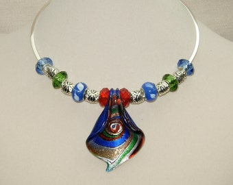 Dione add a bead necklae,Memorial  Day,hand blown necklace,Birthday gift,graduation gift,,blue necklace,red necklace,green necklace