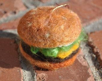 Felted hamburger decoration