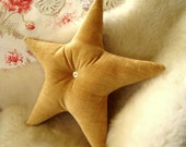 Reserve Listing for Marlo    2 Gold Velvet Star Pilows with Vintage Shell Buttons