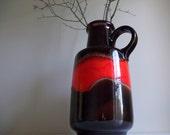 Scheurich Floor Vase West German Jug Retro Modern Decor Fat Lava Glaze 408-40 Brown and Red