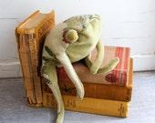 Velvet Frog Bookend in Green Velvet and Vintage Chintz Stuffed Frog Friend