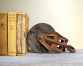 Barn Pulley Industrial Antique Cast Iron and Wood Farmhouse Rustic Industrial Decor Bookend
