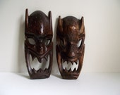 Reserve Listing for Geoffery 3 Wood Masks Set of 2 Hawaiian Masks plus one Philippine Mask