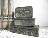 Antique Tin Boxes Set of 3 Instant Collection Advertising Tins Storage Farmhouse Cottage Industrial Decor