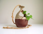 Hanging Planter Flower Pot Brown Handmade Pottery