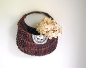 Willow Wall Basket Handwoven Vintage Natural Eco Friendly Rustic Decor