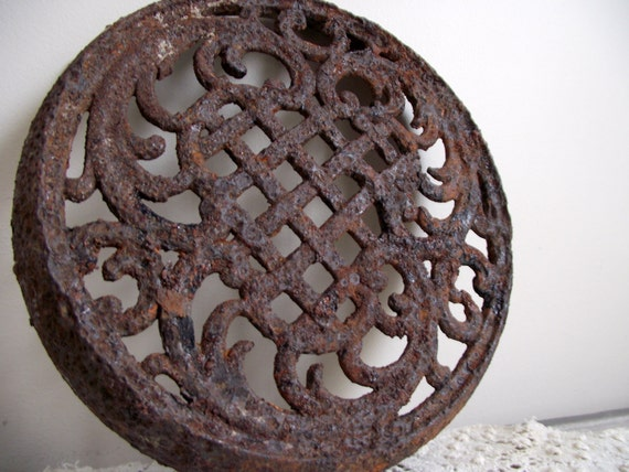 Cast Iron Stove Grate Rusty Ornate Design Salvage Wall Hanging Shelf Display