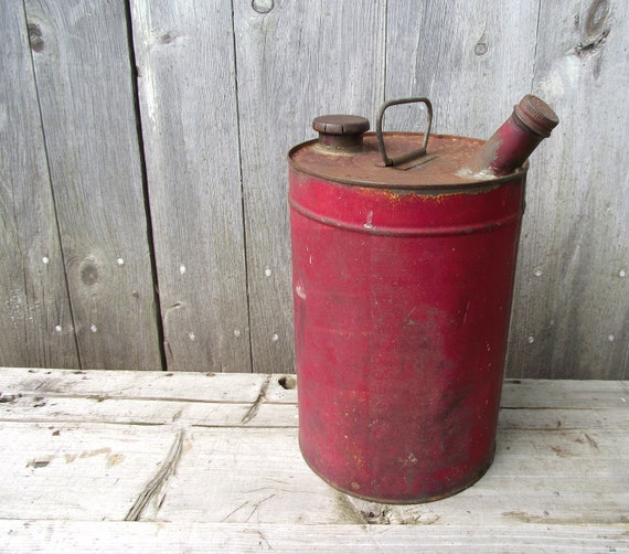 Metal Oil Can Red Antique Fuel Can Industrial Decor Farm Find Garage Prop