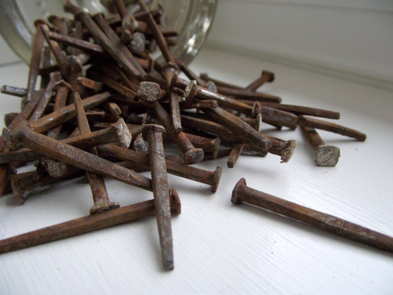 Antique Square Nails Rusty 1800s Lath Board Nails Salvaged Assemeblage Art Steampunk