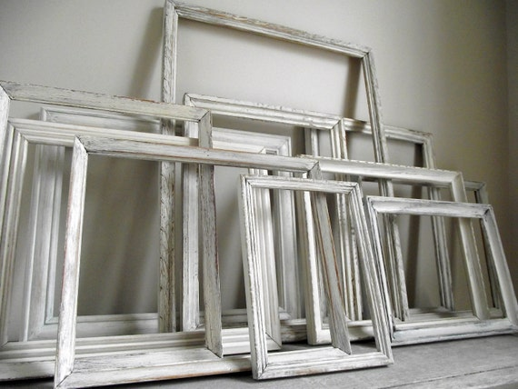 White Picture Frames Set of Eleven Empty Vintage Wood Frames Shabby Chic Wall Home Decor