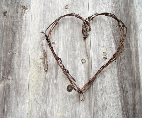 Wire Heart Wreath Antique Rustic Barbed Wire Farmhouse Chic Industrial Decor Garden Decor Valentines Day