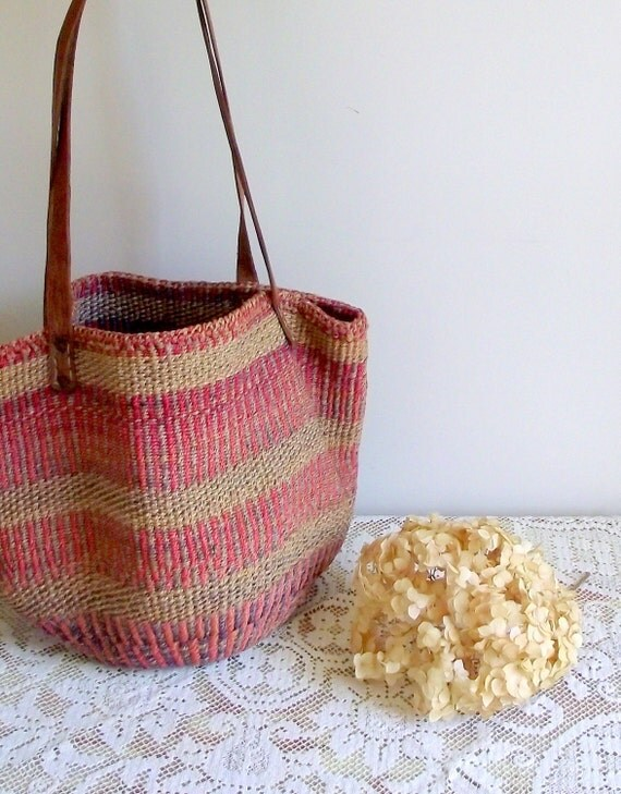 Sisal Bag Vintage Market Tote Bag Summer Handbag Beach Bag
