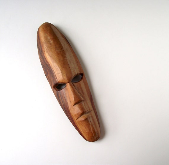Tribal Mask Wall Hanging Carved Wood Primitive Face Plaque Tribal Decor