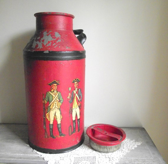 Vintage Milk Can Galvanized Metal Can Painted Red with American Revolution Soldiers