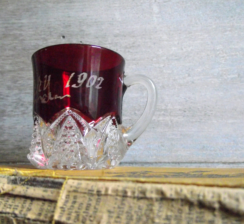 Ruby Flash Glass Souvenir Mug Vintage 1902 Pressed Glass