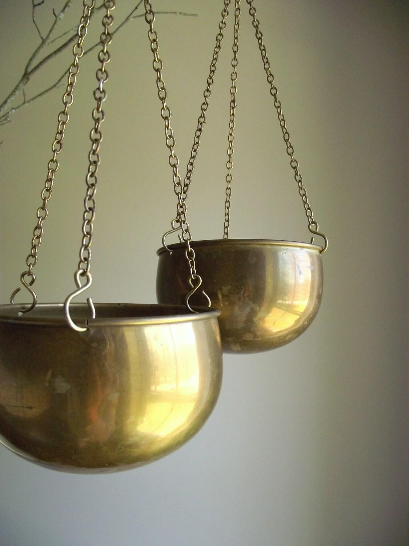 Hanging Brass Pots Vintage Set Of 2 Matching Planters Garden